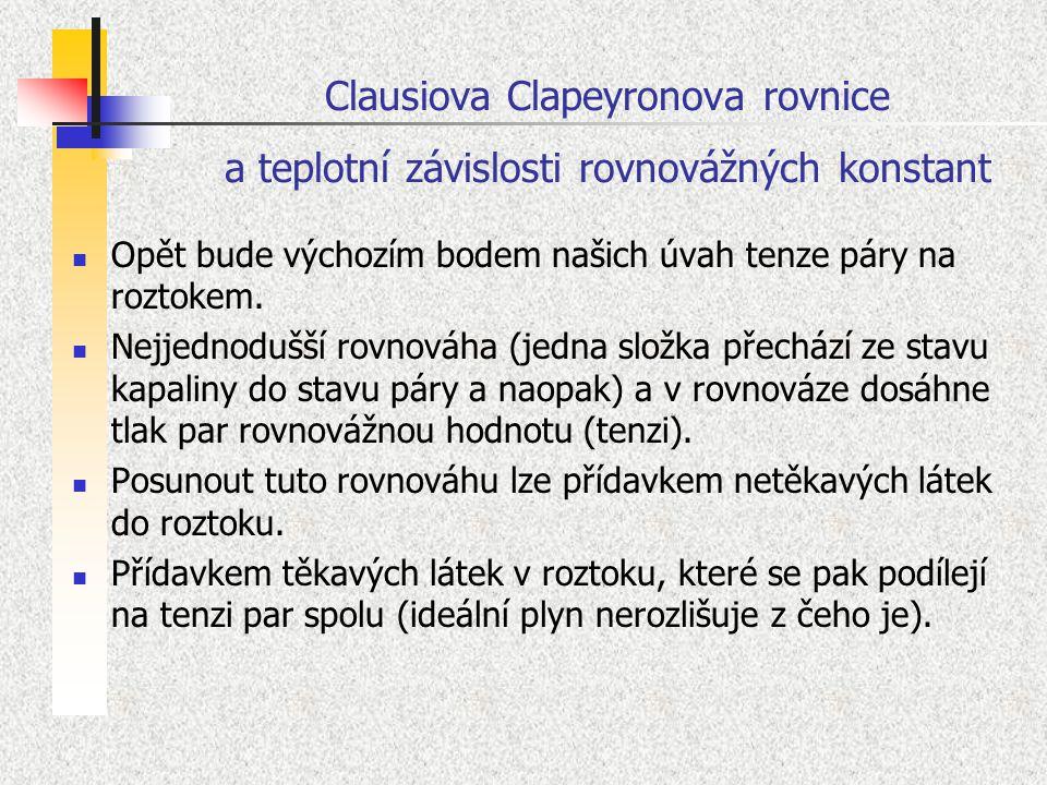 Clausiova Clapeyronova rovnice a teplotní závislosti rovnovážných konstant