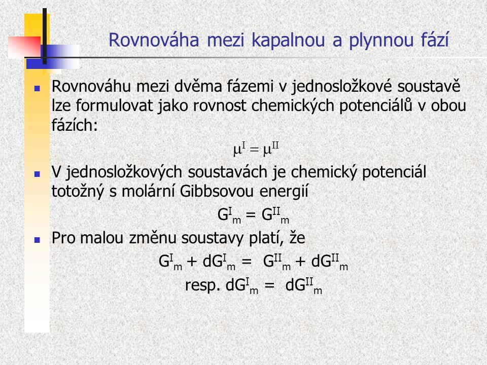 Rovnováha mezi kapalnou a plynnou fází