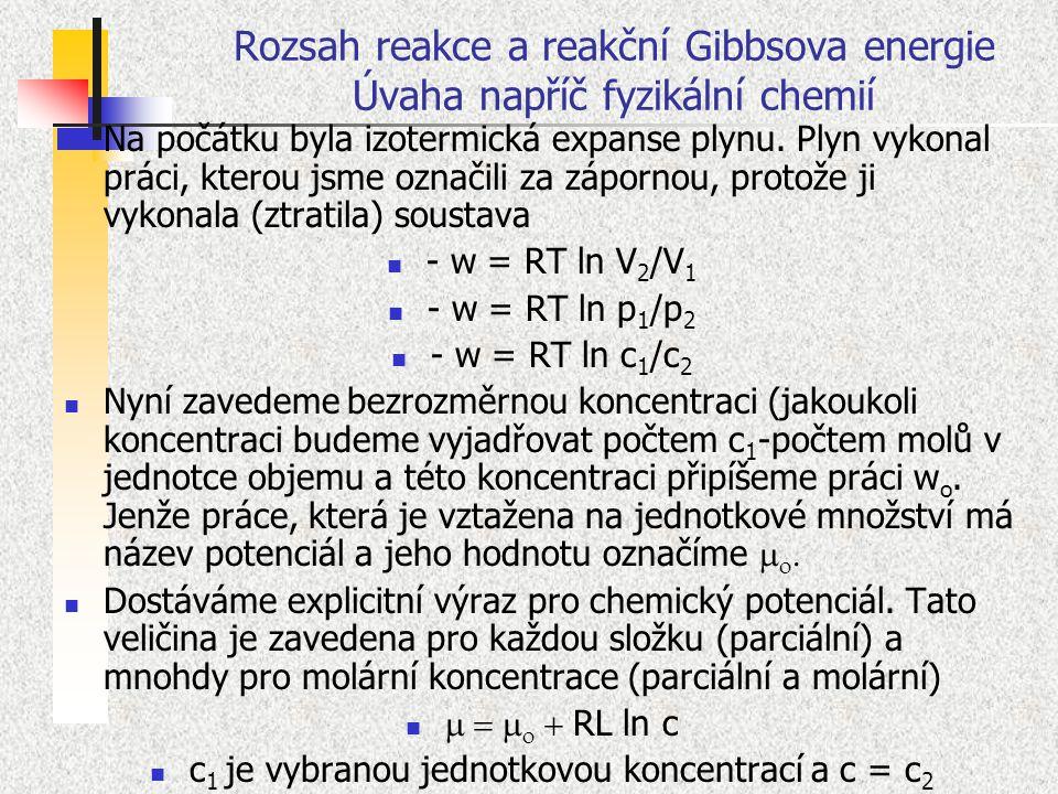 Rozsah reakce a reakční Gibbsova energie Úvaha napříč fyzikální chemií