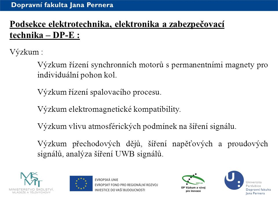 Podsekce elektrotechnika, elektronika a zabezpečovací technika – DP-E :