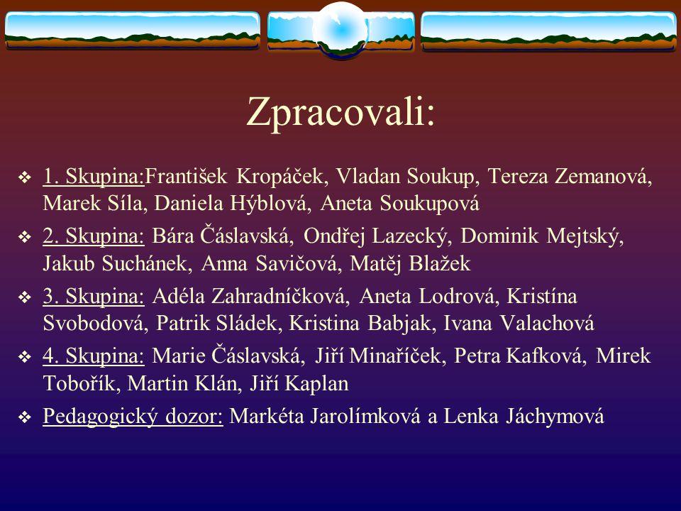 Zpracovali: 1. Skupina:František Kropáček, Vladan Soukup, Tereza Zemanová, Marek Síla, Daniela Hýblová, Aneta Soukupová.