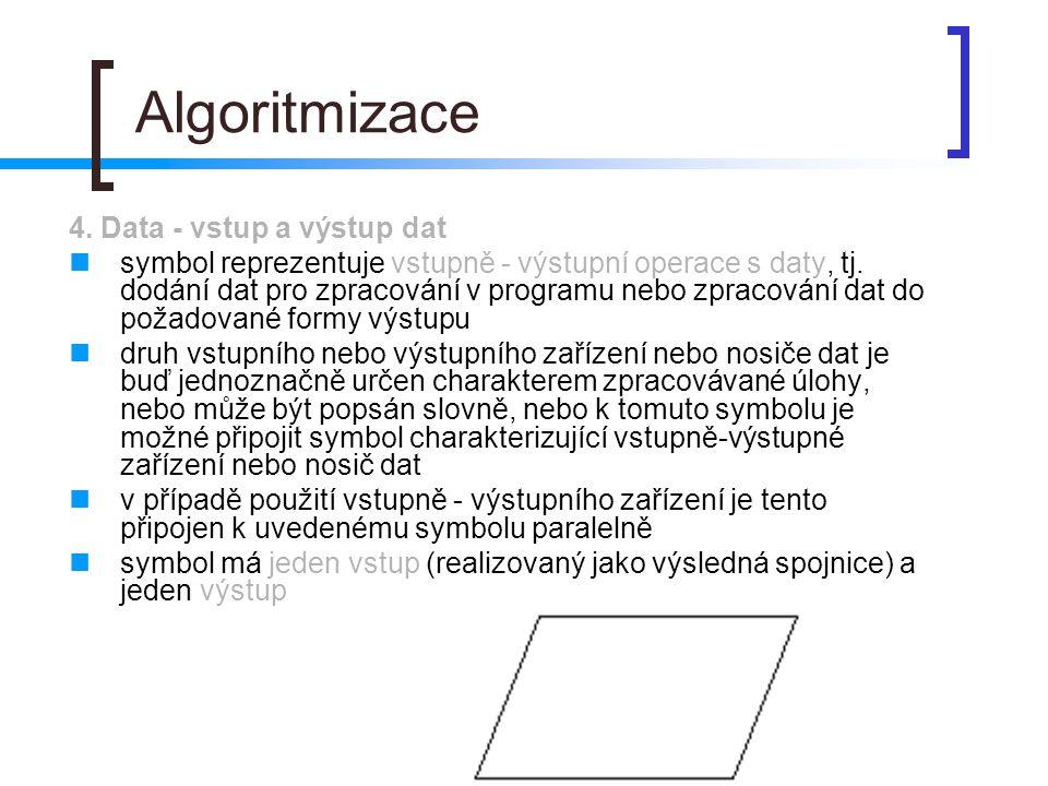 Algoritmizace 4. Data - vstup a výstup dat