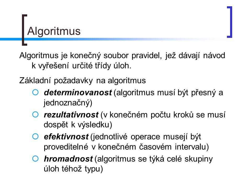 Algoritmus Algoritmus je konečný soubor pravidel, jež dávají návod k vyřešení určité třídy úloh. Základní požadavky na algoritmus.