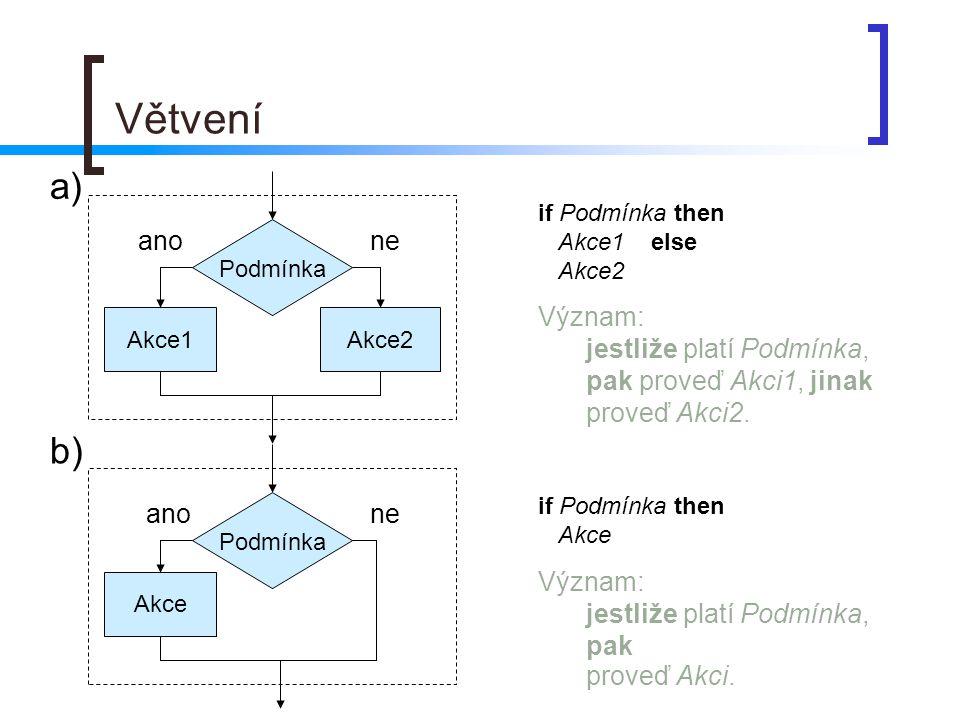 Větvení a) if Podmínka then. Akce1 else. Akce2. Význam: jestliže platí Podmínka, pak proveď Akci1, jinak proveď Akci2.