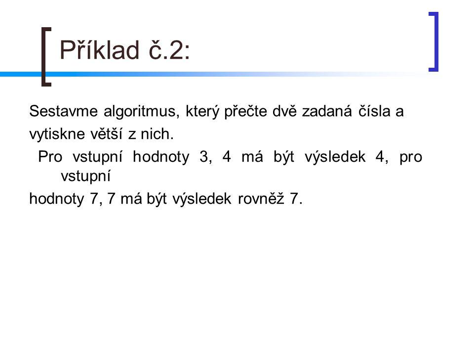 Příklad č.2: Sestavme algoritmus, který přečte dvě zadaná čísla a