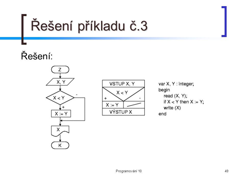 Řešení příkladu č.3 Řešení: Programování 10