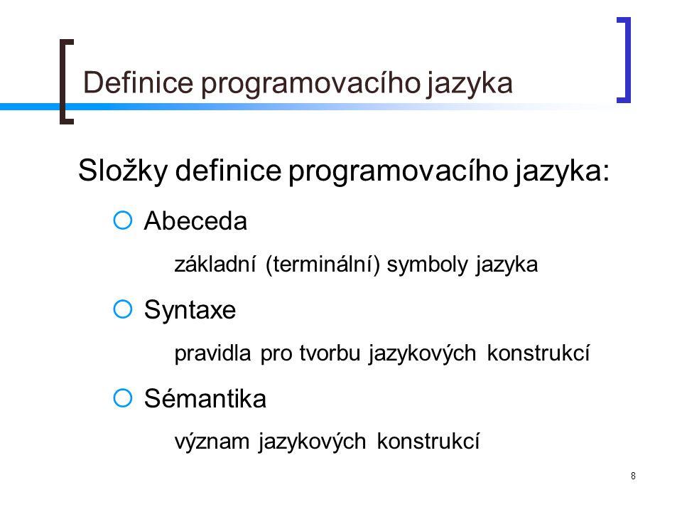 Definice programovacího jazyka