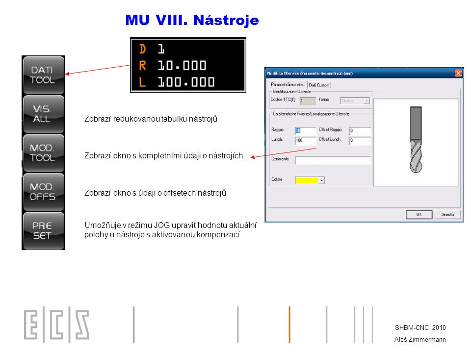 MU VIII. Nástroje Zobrazí redukovanou tabulku nástrojů