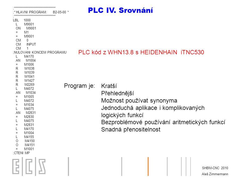 PLC IV. Srovnání PLC kód z WHN13.8 s HEIDENHAIN iTNC530 Program je: