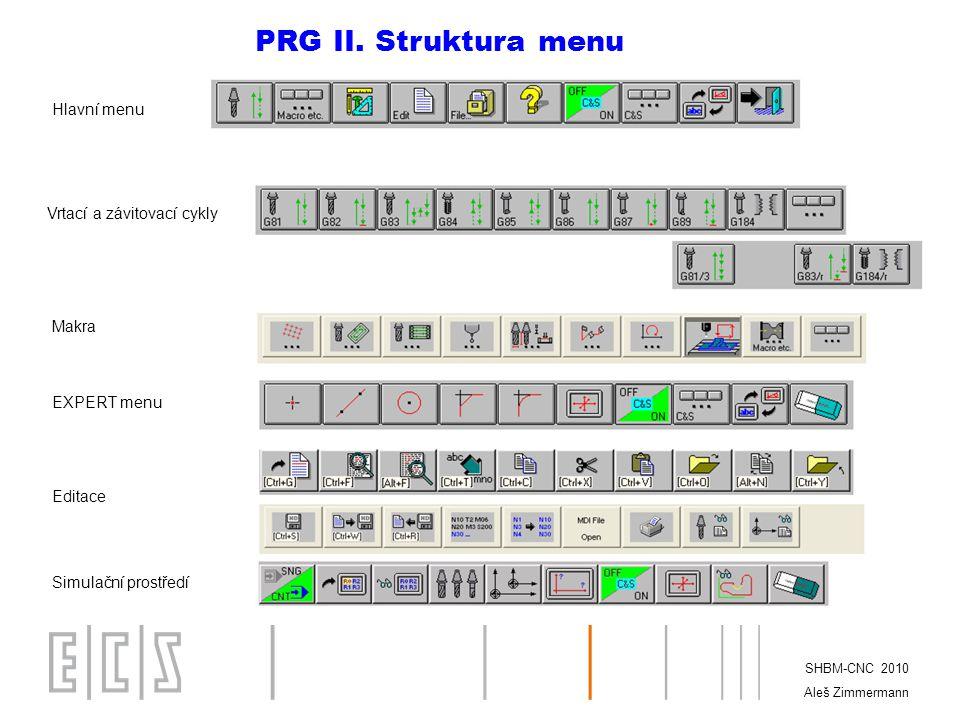 PRG II. Struktura menu Hlavní menu Vrtací a závitovací cykly Makra