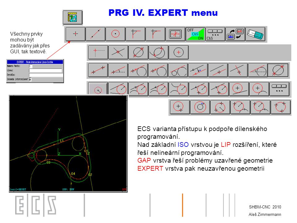 PRG IV. EXPERT menu Všechny prvky mohou být zadávány jak přes GUI, tak textově. ECS varianta přístupu k podpoře dílenského programování.