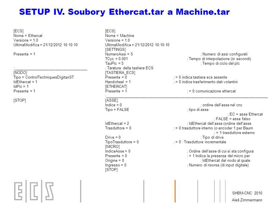 SETUP IV. Soubory Ethercat.tar a Machine.tar
