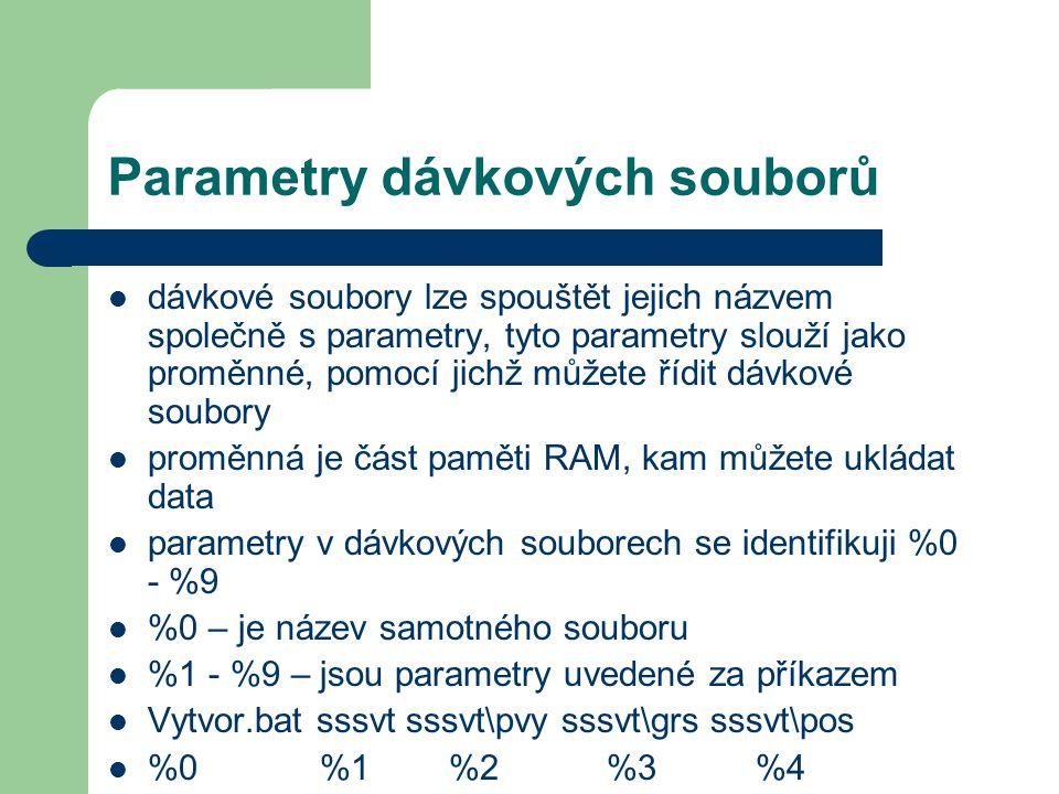 Parametry dávkových souborů
