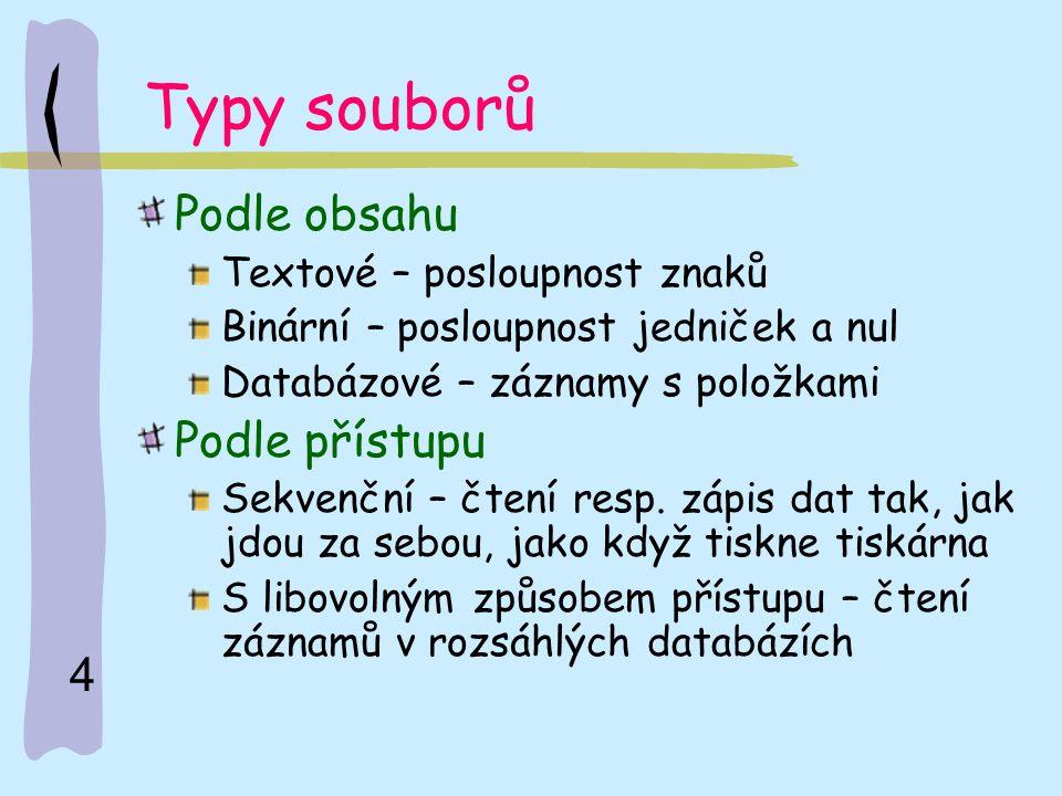Typy souborů Podle obsahu Podle přístupu Textové – posloupnost znaků