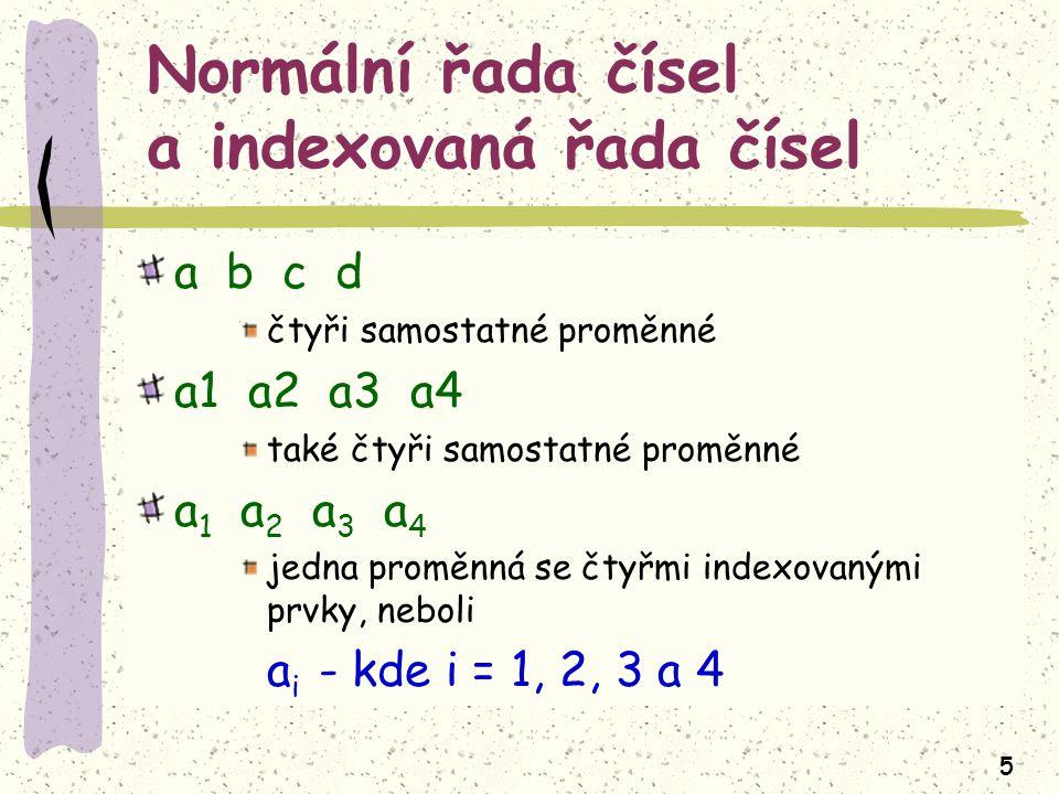 Normální řada čísel a indexovaná řada čísel