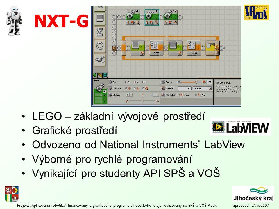 NXT-G LEGO – základní vývojové prostředí Grafické prostředí