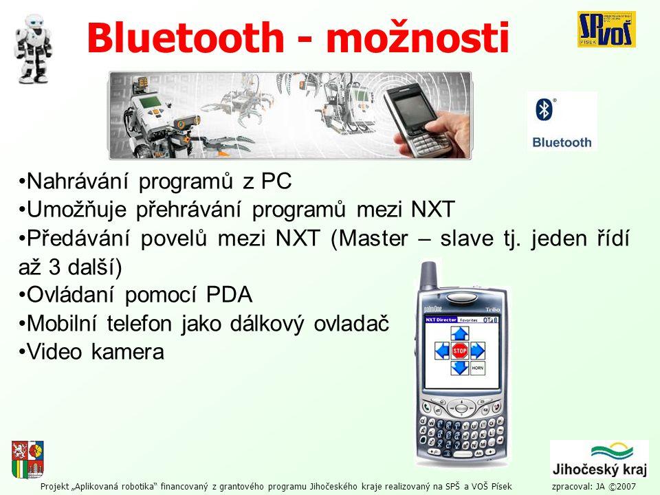 Bluetooth - možnosti Nahrávání programů z PC