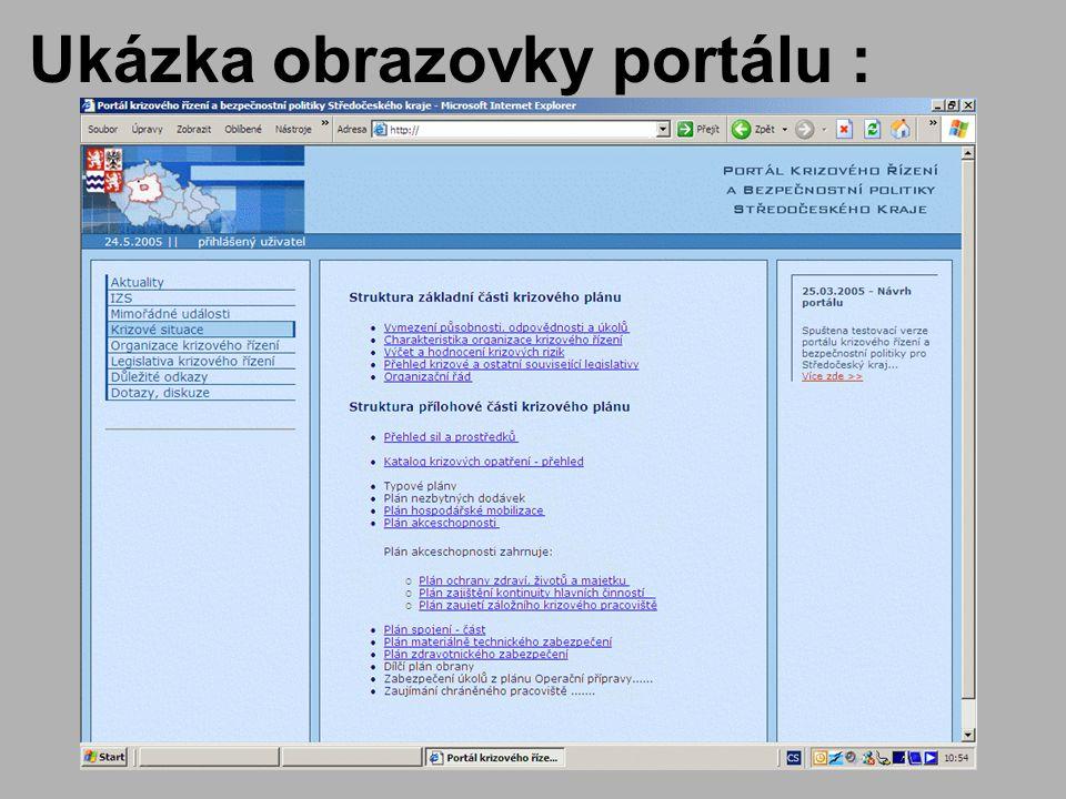 Ukázka obrazovky portálu :