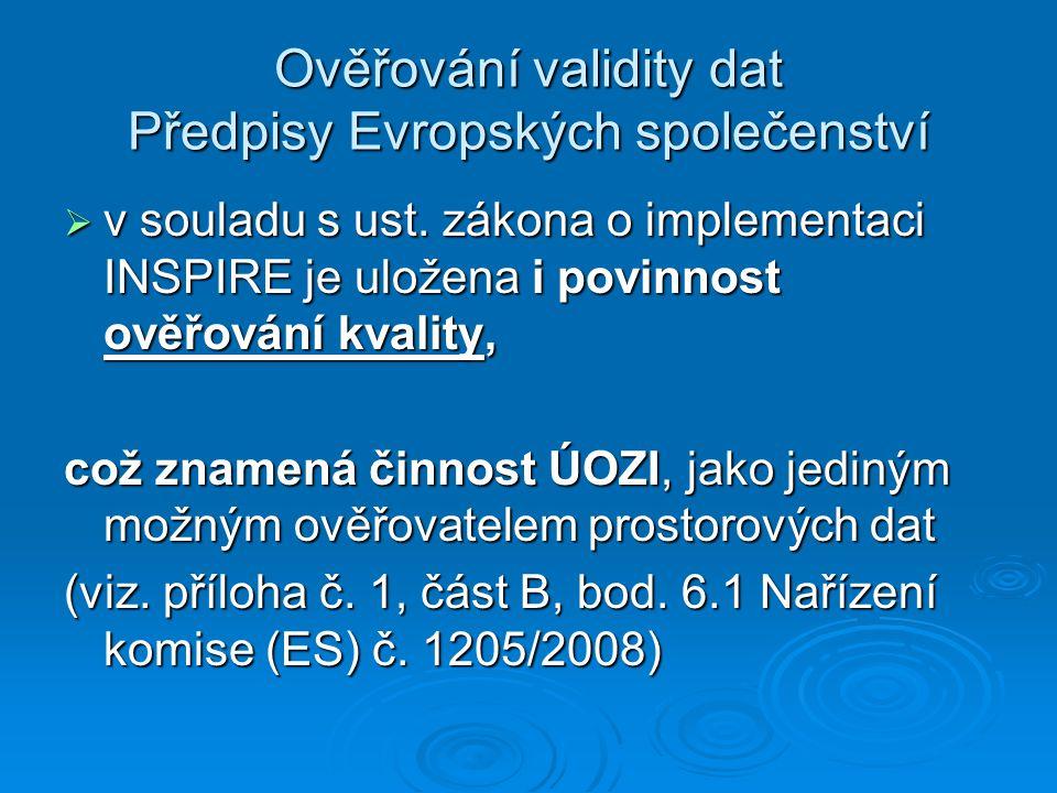Ověřování validity dat Předpisy Evropských společenství