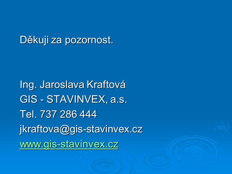 Děkuji za pozornost. Ing. Jaroslava Kraftová GIS - STAVINVEX, a.s.
