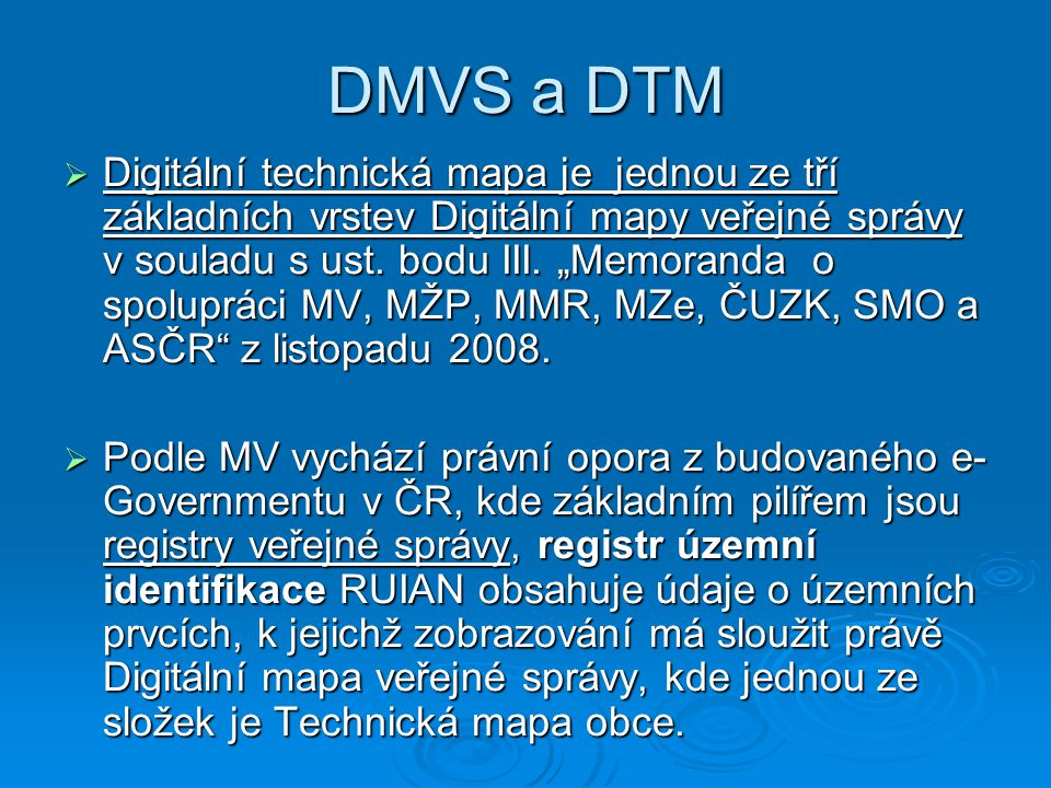DMVS a DTM