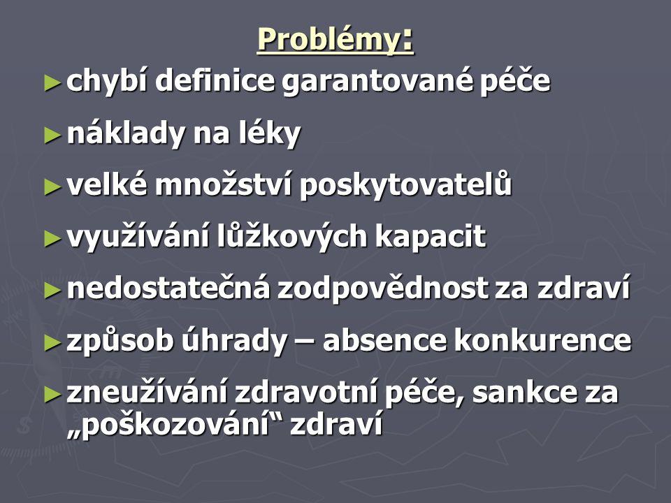 Problémy: chybí definice garantované péče. náklady na léky. velké množství poskytovatelů. využívání lůžkových kapacit.