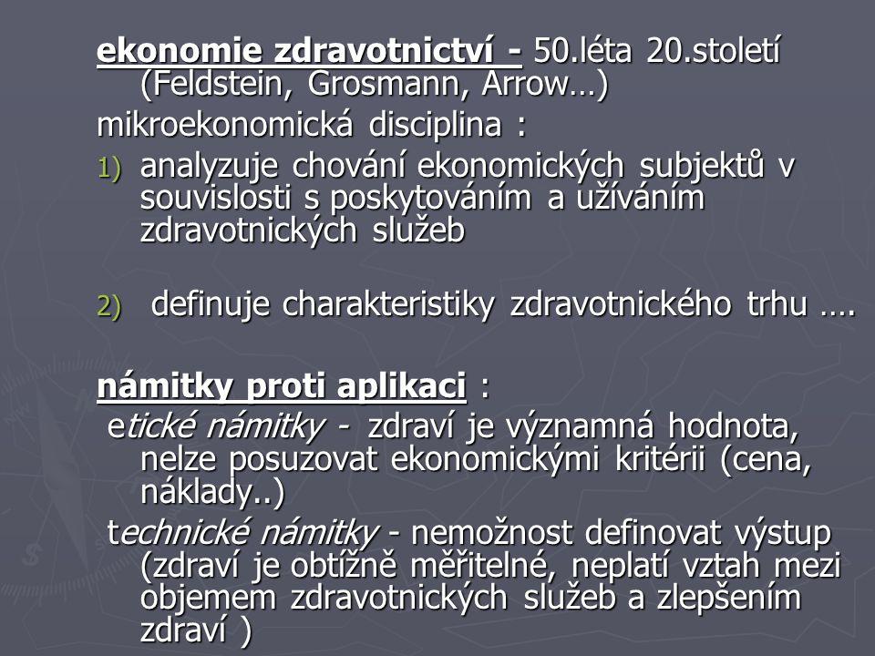 ekonomie zdravotnictví - 50. léta 20