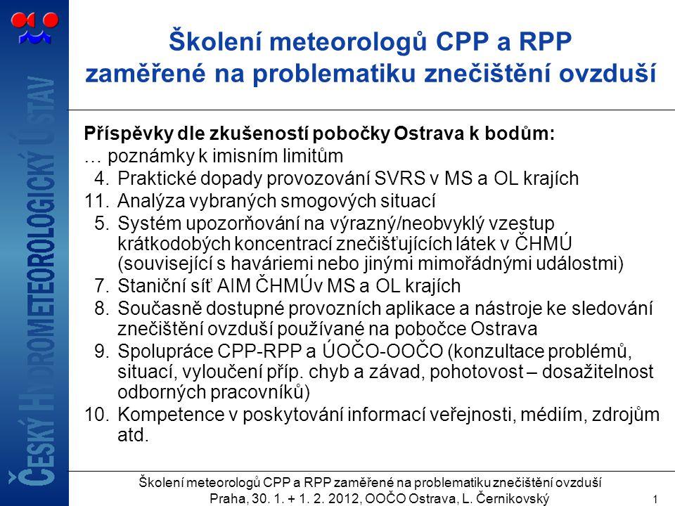 Školení meteorologů CPP a RPP zaměřené na problematiku znečištění ovzduší