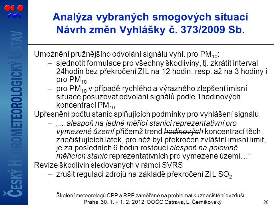 Analýza vybraných smogových situací Návrh změn Vyhlášky č. 373/2009 Sb.