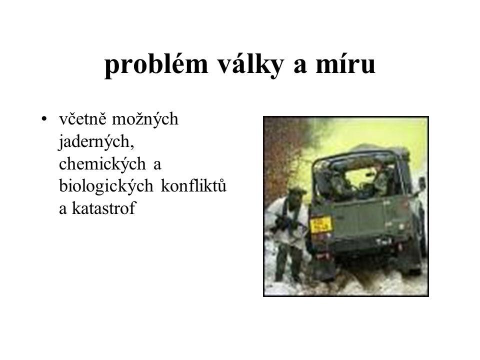 problém války a míru včetně možných jaderných, chemických a biologických konfliktů a katastrof
