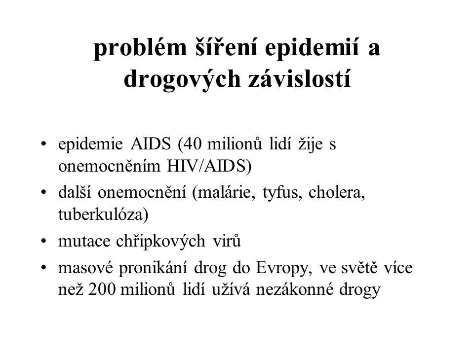 problém šíření epidemií a drogových závislostí
