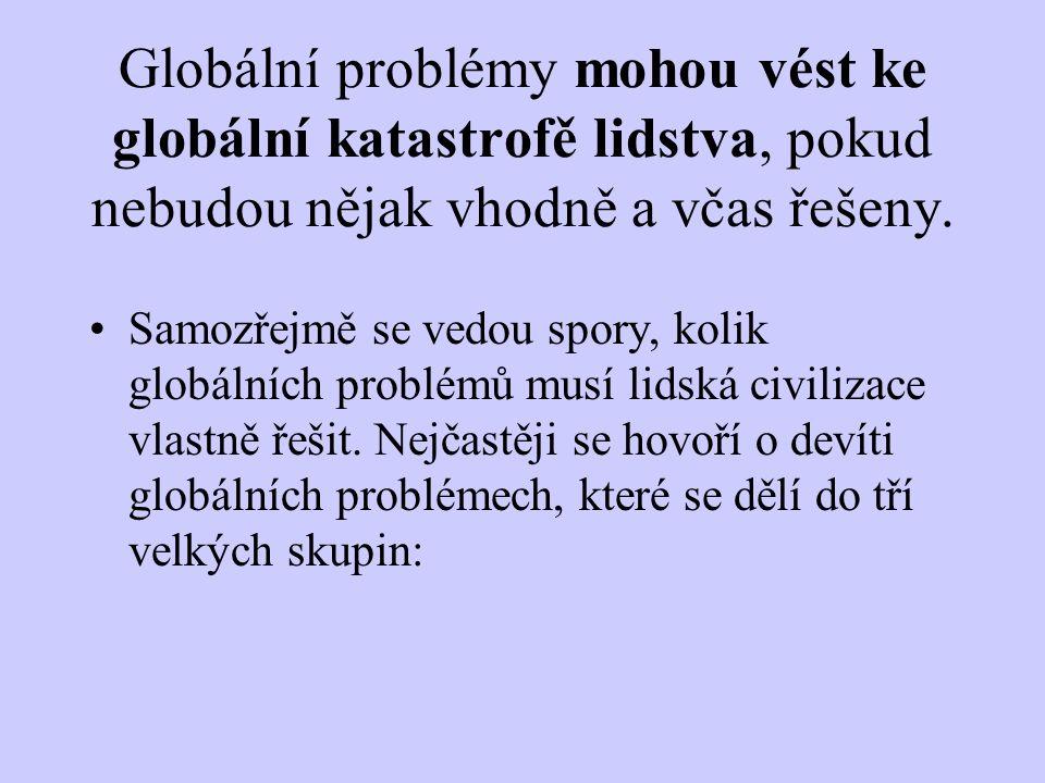 Globální problémy mohou vést ke globální katastrofě lidstva, pokud nebudou nějak vhodně a včas řešeny.