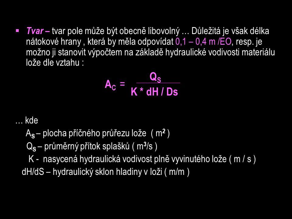 Tvar – tvar pole může být obecně libovolný … Důležitá je však délka nátokové hrany , která by měla odpovídat 0,1 – 0,4 m /EO, resp. je možno ji stanovit výpočtem na základě hydraulické vodivosti materiálu lože dle vztahu :