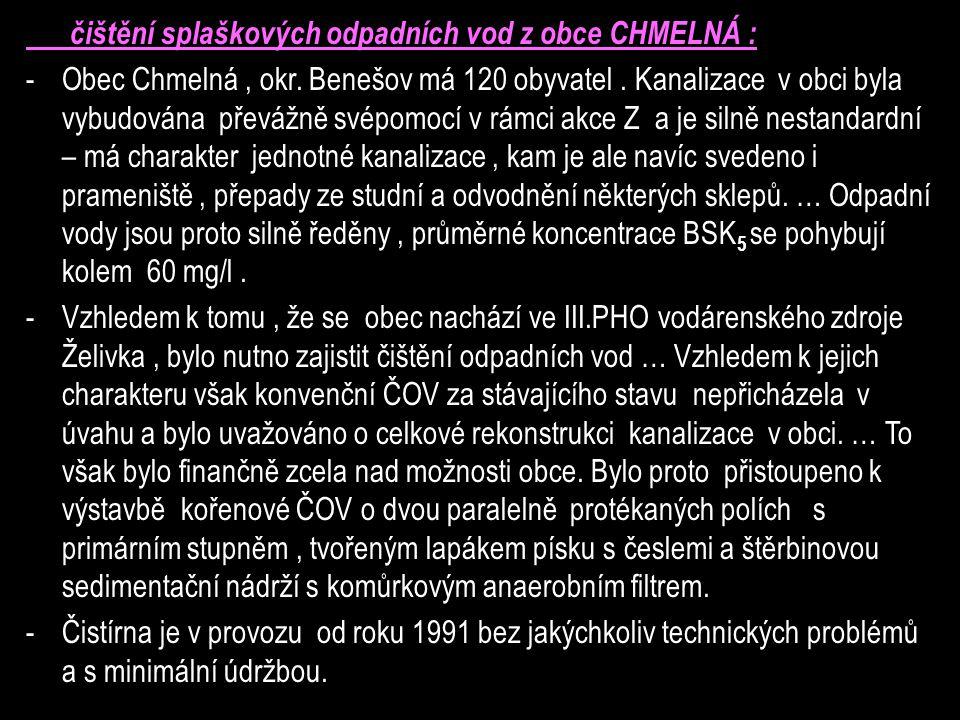 čištění splaškových odpadních vod z obce CHMELNÁ :