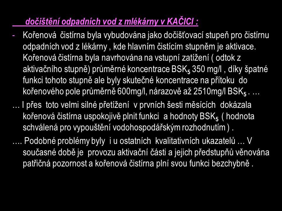dočištění odpadních vod z mlékárny v KAČICI :