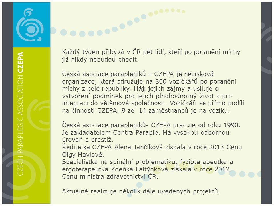 Každý týden přibývá v ČR pět lidí, kteří po poranění míchy již nikdy nebudou chodit. Česká asociace paraplegiků – CZEPA je nezisková organizace, která sdružuje na 800 vozíčkářů po poranění míchy z celé republiky. Hájí jejich zájmy a usiluje o vytvoření podmínek pro jejich plnohodnotný život a pro integraci do většinové společnosti. Vozíčkáři se přímo podílí na činnosti CZEPA. 8 ze 14 zaměstnanců je na vozíku.