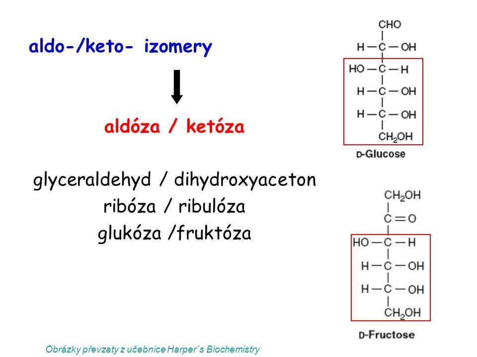 glyceraldehyd / dihydroxyaceton ribóza / ribulóza glukóza /fruktóza