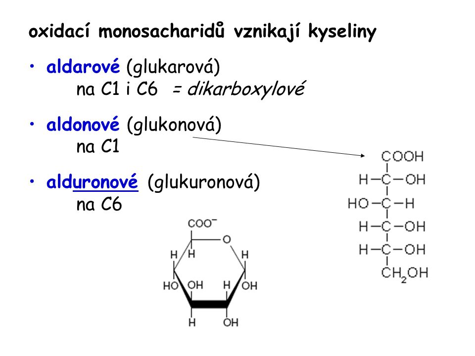 oxidací monosacharidů vznikají kyseliny