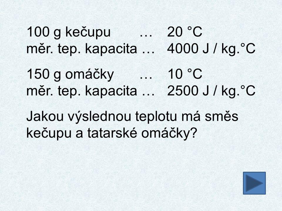 100 g kečupu … 20 °C měr. tep. kapacita … 4000 J / kg.°C. 150 g omáčky … 10 °C. měr. tep. kapacita … 2500 J / kg.°C.