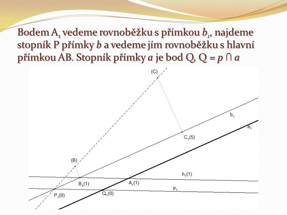 Bodem A1 vedeme rovnoběžku s přímkou b1, najdeme stopník P přímky b a vedeme jím rovnoběžku s hlavní přímkou AB.