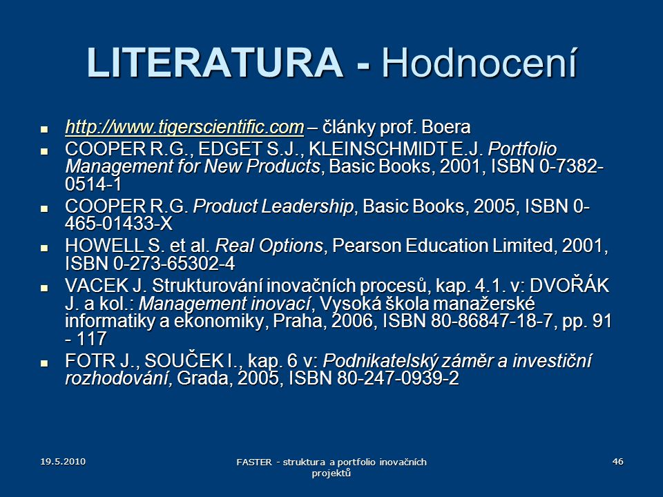 LITERATURA - Hodnocení