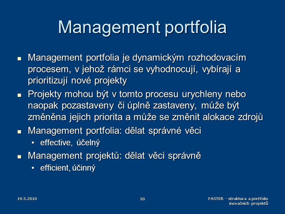 Management portfolia Management portfolia je dynamickým rozhodovacím procesem, v jehož rámci se vyhodnocují, vybírají a prioritizují nové projekty.