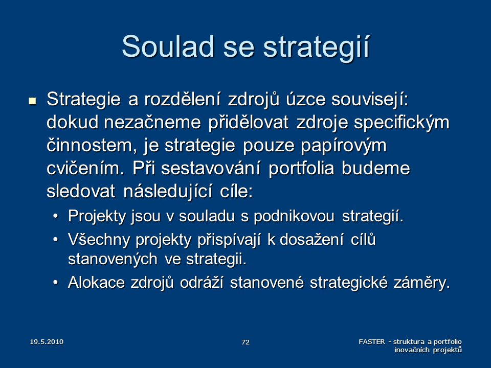 Soulad se strategií