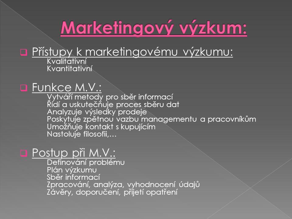 Marketingový výzkum: Přístupy k marketingovému výzkumu: Kvalitativní Kvantitativní.