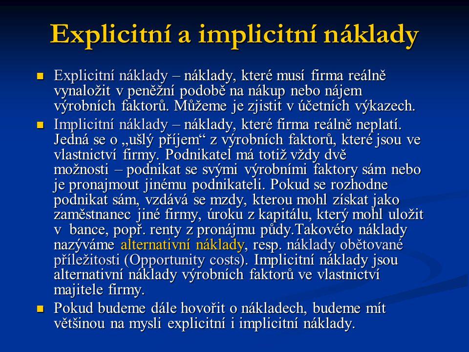 Explicitní a implicitní náklady