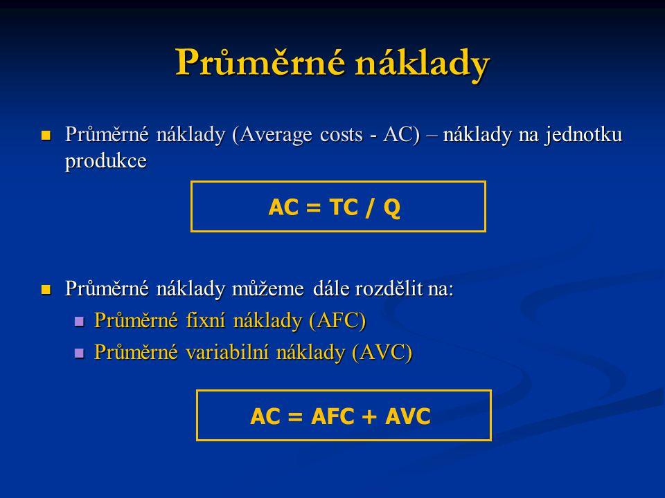 Průměrné náklady Průměrné náklady (Average costs - AC) – náklady na jednotku produkce. Průměrné náklady můžeme dále rozdělit na: