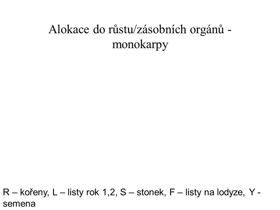 Alokace do růstu/zásobních orgánů - monokarpy