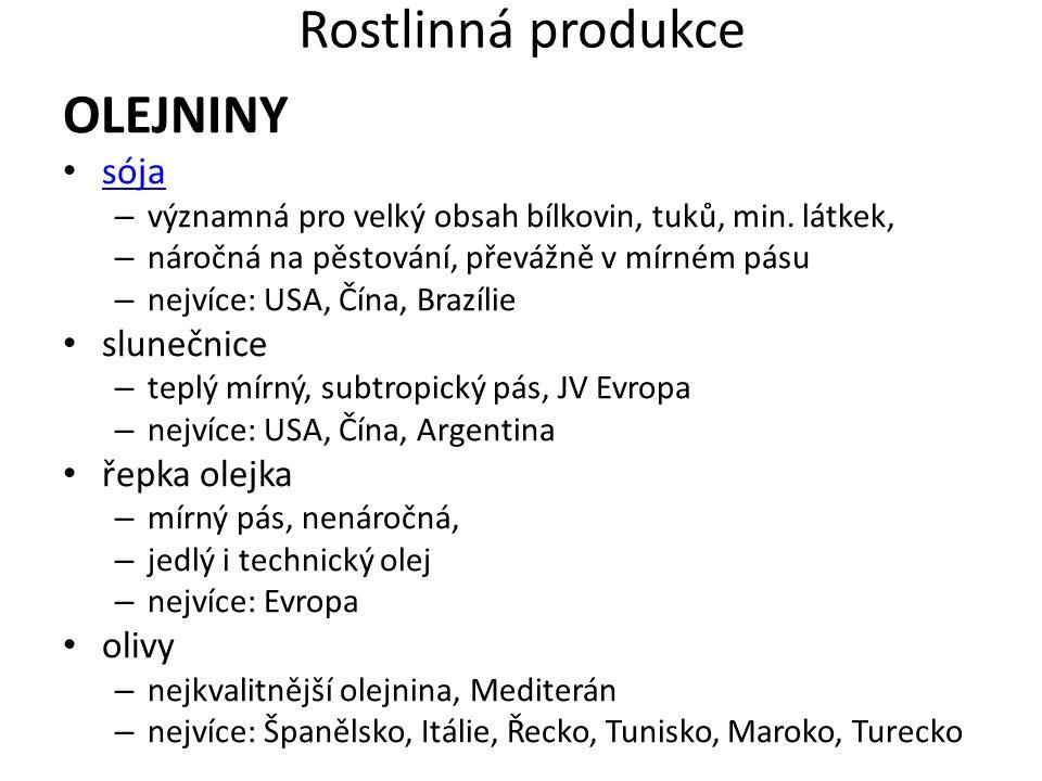 Rostlinná produkce OLEJNINY sója slunečnice řepka olejka olivy