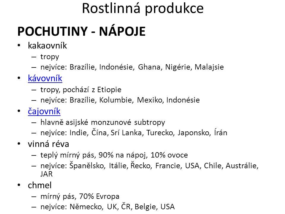 Rostlinná produkce POCHUTINY - NÁPOJE kakaovník kávovník čajovník