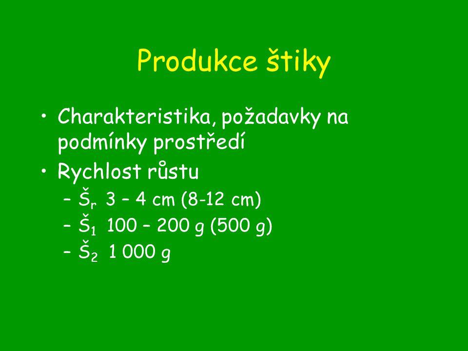 Produkce štiky Charakteristika, požadavky na podmínky prostředí